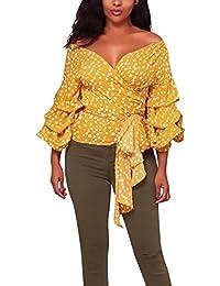 Camisa Mujer Elegantes Clásico Especial Lunares Blusas Cuello Barco Mangas De La Linterna Slim Fit Tops Joven Moda Casual Camisas…