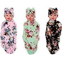 angumo Baby Decken, Neugeborene Baby schlafen Wickeldecke, Neugeborene Baby Beanie Hat, Stück 3Sets