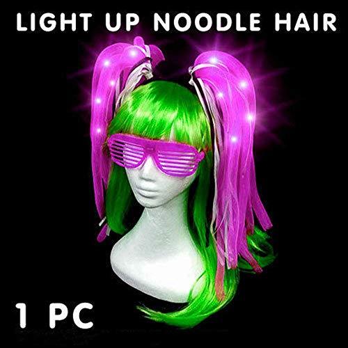 Halloween-Perücke, leuchtende LED-Stirnband für Karneval, Karneval, Kostümpartys, Kostüme violett