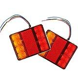 AOHEWEI 2 pezz Luci Fanali Posteriori per Rimorchio LED12V Lampada del Freno per Camion Indicatore Impermeabile per Rimorchio Camion Caravan Furgone o Barca (8 chip led)