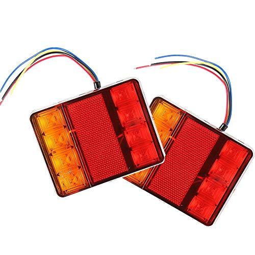 Preisvergleich Produktbild AOHEWEI 2stk LED Anhänger Rücklicht Bremsleuchte Lkw Blinklicht Beleuchtung Licht Anhalten Anzeige Lampe Wasserdicht 12V für Anhänger LKW Wohnwagen Van oder Boot (8 led-chips)