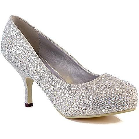 Me ideal traje de neopreno para mujer Mid de gatito en el talón con brillantes de purpurina de bajo con plataforma zapatos de trajes de novia de boda de