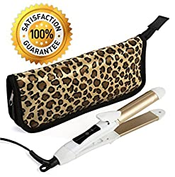 AK Professional 2 In 1 Mini Hair Straightener Flat Iron/Curling Iron Styler W/Nano Titanium Technology Dual Voltage Constant 374 Degree Temperature Insulated Carry Bag Included Ideal For Travel And Touch Ups