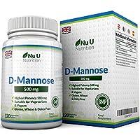 Comprimidos de D-Manosa de 500mg – 120 comprimidos – Alta Potencia – Libre de Alérgenos y Apto para Vegetarianos y Veganos – No Son Cápsulas Ni Polvo de D-Manosa, Fabricado en el Reino Unido por Nu U Nutrition.