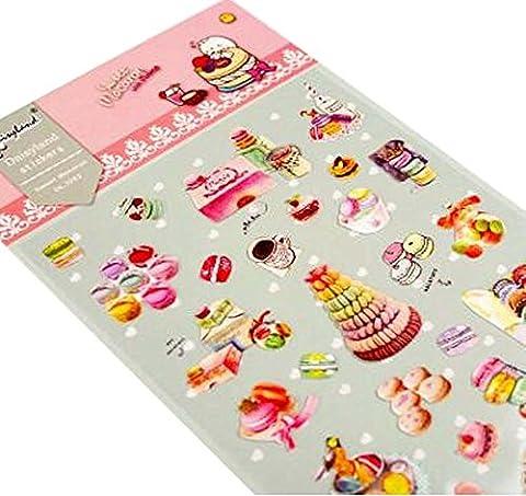 Stickers Macarons - 5 feuilles de bricolage autocollants décoratifs Craft