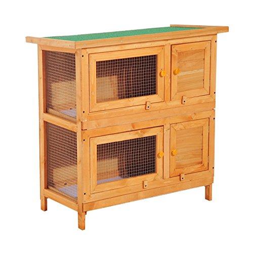 Pawhut gabbia per conigli conigliera da esterno in legno di abete, 90x45x90cm