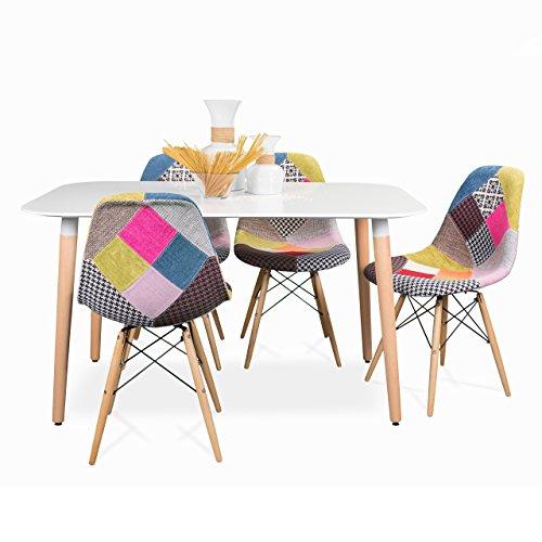 Homely - Conjunto de Comedor Tower Patchwork de diseño nórdico-Vintage, con Mesa lacada Blanca y 4 sillas - 130x80 cm