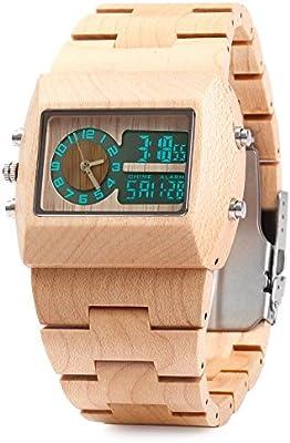 BEWELL ZS-W021A Reloj para Hombre de Cuarzo Madera Bambú con Doble Movimiento Luminosa Visualización