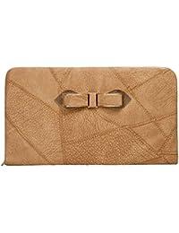 Envie Faux Leather Brown Coloured Zipper Closure Croc Pattern Clutch For Women For Women