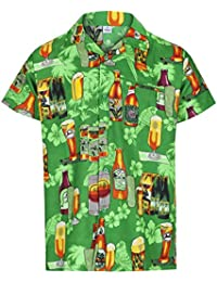 Redstar Fancy Dress - Camisa Hawaiana de Manga Corta - para Hombre - Cerveza y Playa