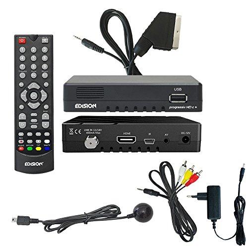 Edision Progressiv compact nano Plus Full HD Sat Receiver (DVB-S2 Tuner, HDMI, 1x USB 2.0, WLAN, Conax Kartenleser) Astra 19,2 vorpr. inkl. Scart Adapter Kabel
