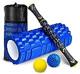 HBselect Rullo Massaggio Muscolare Set 4 Kit Fitness Foam Roller in Schiuma Spiky Ball Lacrosse Ball Bastone Massaggio Rilascio Miofasciale Allevia Affaticamento Massaggiatore Ortopedico Ergonomico