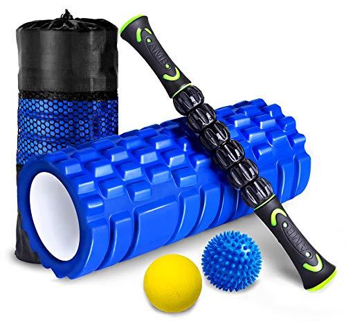 HBselect Rullo Massaggio Muscolare Set 4 Kit Fitness Foam Roller Schiuma Spiky Ball Lacrosse Ball Bastone Massaggio Rilascio Miofasciale Allevia Affaticamento Massaggiatore Ortopedico Ergonomico