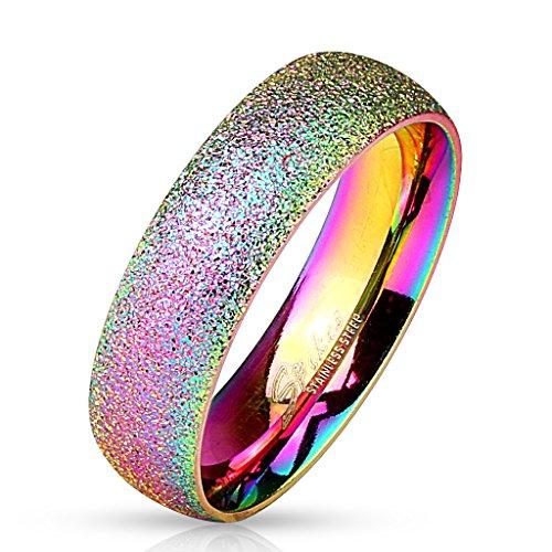 Paula & Fritz Sand Glitzer 6mm breit Damen-ring Verlobungs-ring Freundschaftsring Herrenring Partnerring Edelstahl Chirurgenstahl 316L regenbogen 63 (20)