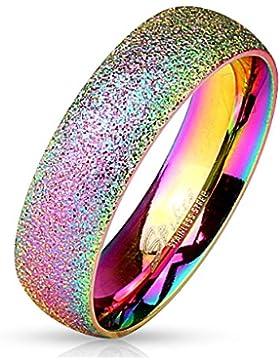 Paula & Fritz® Sand Glitzer 6mm breit Damen-ring Verlobungs-ring Freundschaftsring Herrenring Partnerring Edelstahl...