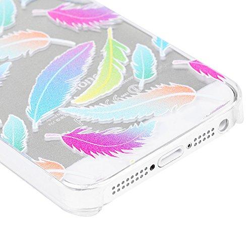 iPhone 5 / 5S Handyhülle iPhone SE Hardcase YOKIRIN PC Kunststoff Hülle Schutzhülle Case Hartschale in Bunte Federn Muster Bunte Federn