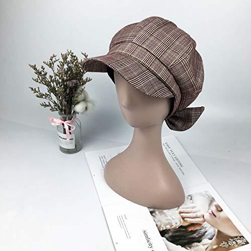 kyprx Herrenmode Hüte Viertelbericht Mütze Retro Baskenmütze weibliche gestreifte Kappe Bogen Maler Hut rosa