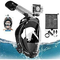 TENT-Z Radioprotection Masque de Plongée 180 ° View Masque Tuba Intégral Canaux Anti-buée à Double Flux d'air et Conception à Dessus Sec Flotteur Silicone étanche Fixation Anti-Buée et