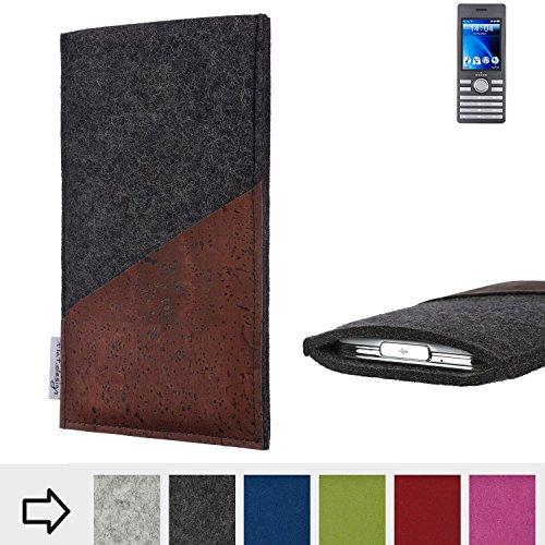 flat.design Handy Hülle Evora für Kazam Life B6 handgefertigte Handytasche Kork Filz Tasche Case fair dunkelgrau