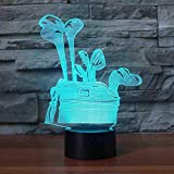GZGNL 3D Golf Club Borsa modellante Lampada da tavolo 7 colori Visual Kids Touch Button Led Luce notturna Usb Baby Sleep Lighting Home Decor Regali