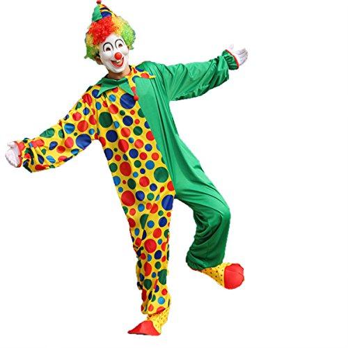 Tinksky Clown Kostüm Erwachsene Herren witzig Clownkostüm mit Hut für Party Halloween Weihnachten Karneval Familien Feier Größe 5XL