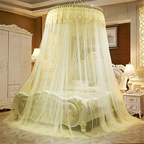 XNNSH Mücke Net Luxury Dome Princess Bed Canopy Butterfly Bed Tents Erwachsene Baby Kids Indoor Bedroom Durchmesser 1M Mosquito Nets Fit Krib Twin Bett,Yellow -