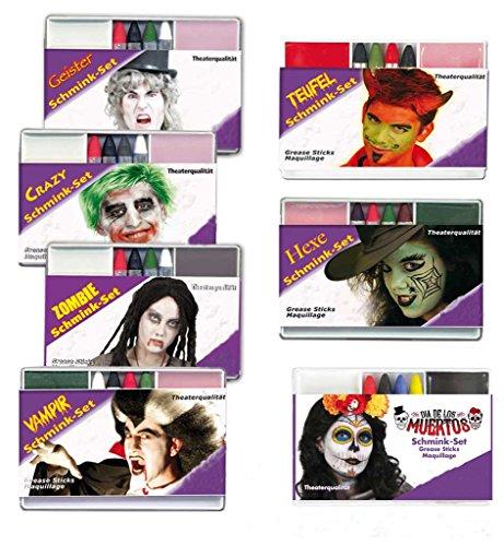 (KarnevalsTeufel Schminkset in Theaterqualität Make-Up Gesichtsschminke Verschiedene Ausführungen (Hexe))