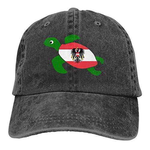 j65rwjtrhtr Unisex Adjustable Yarn-Dyed Denim Baseball Kappen Sea Turtle Flag of Austria Trucker Cap