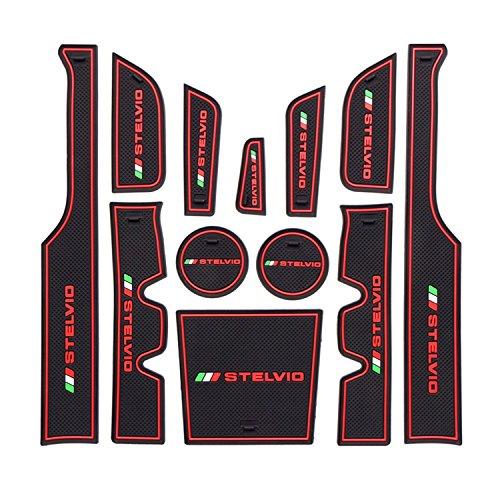 Preisvergleich Produktbild LFOTPP Stelvio2 Auto Styling Innentür Gummi Matte Becherhalter Matte Auto zubehör Rot