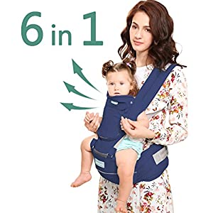 Windsleeping Baby and Child Carrier Backpack 6-in-1 Detachable Natural Latex Carrier Sling with Hip Seat Suit for Newborn, Infant,Toddler,Kids - Dark Blue   11