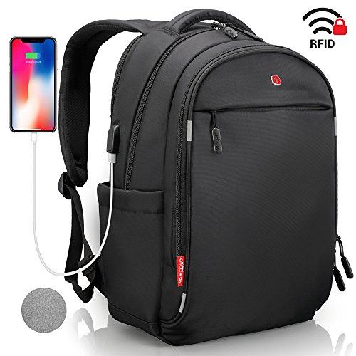 Laptop Rucksack Herren Damen Schwarz - RFID Schutz Anti Theft Backpack - SWISS Design Rucksack wasserdicht Regenschutz - USB Ru...
