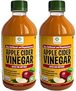 Nutrinelife Apple Cider Vinegar for Weight Loss, hair growth, skin, Raw, Unfiltered Unpasteurized, with mother vinegar 500 ml (Pack of 2)