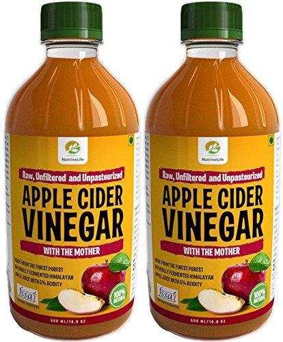 NutrineLife Unfiltered and Unpasteurized Apple Cider Vinegar - 500 ml (Pack of 2)