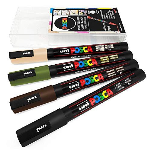 Uni POSCA PC-3M - Pennarelli per Pittura Artistica, Confezione da 4, in Astuccio di plastica, Colori mimetici