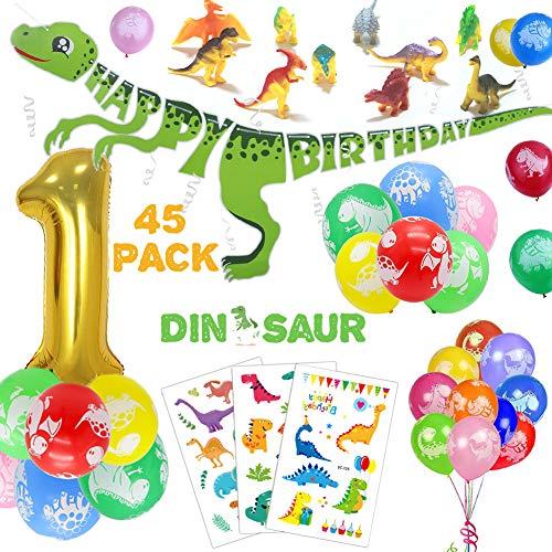1 Jahr Dinosaurier Geburtstag Deko Set für Kinder, Dino Alles Gute Zum Geburtstag Girlande, Bunt Luftballons, Dinosaurier Tortendekoration, Tätowierungen-Dschungel Party Dekoration für 1 Jahre Jungen