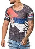 Herren Slim Fit Shirt Flag Türkiye Türkei Srbija Bosnia Kroatien Hrvatska Polen Polska T-Shirt (L, Serbien 1124)