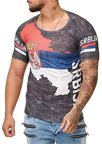 Herren Slim Fit Shirt Flag Türkiye Türkei Srbija Bosnia Kroatien Hrvatska Polen Polska T-Shirt (XXL, Serbien 1124)