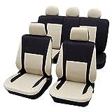 CDEL-31 beige schwarz 17 teiliges Set Lederlook Sitzbezug Schonbezüge Schonbezug Autoschonbezug