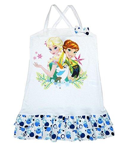 isprinzessinnen Sommer Mädchen Baby Freizeit Strand Kleid Rock Kostüm Kurzarm ärmellos Trägerkleid 100% Baumwolle von Disney mit Anna und ELSA Olaf Farbe Modell 5, Größe 116 ()