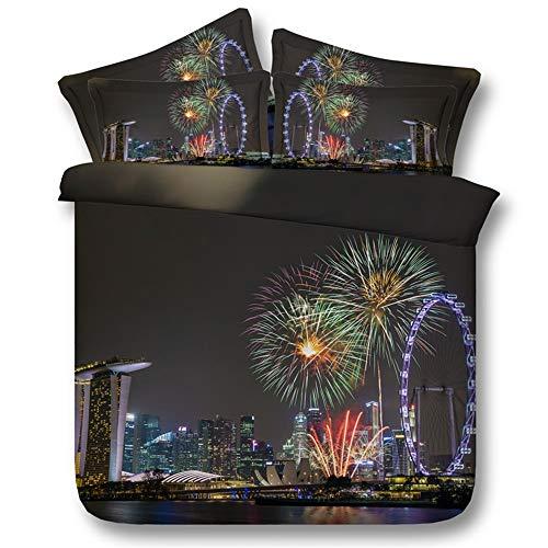 Ruixinshi 3pcs Duvet Cover Sets, HD Digital 3D Polyster Reactive Print Bedding Set,City Fireworks, Queen Weihnachten Neujahr Betten - City Queen-bett