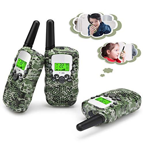 Fansteck 3er Walkie Talkies für Kinder, Funkgeräte Set mit Taschenlampe, 8 Kanäle 3km Reichweite mit Kopfhörer und Seile für Einkaufen, Freizeitpark, Shopping - Tarnung (Kopfhörer Für Walkie-talkie)