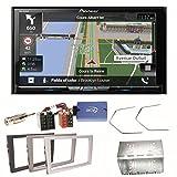 Pioneer AVIC-Z810DAB Navigation Digitalradio CarPlay Android Auto Bluetooth USB DAB+ CD DVD MP3 Einbauset für Opel Vectra Omega Corsa Signum Meriva, Farbe der Radioblende:Schwarz