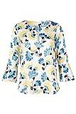 eterna 3/4 Arm Damen Bluse 1863 by Premium Gelb/Blau/Weiß Bedruckt aus 70% Viskose 30% Seide, Grösse:34