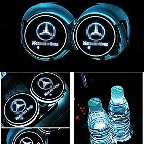 2pcs LED Auto Cup Halter Matte Pad Wasserdicht Flasche Getränke Untersetzer für Universal Auto zur Autodekoration Stimmungslicht Innenraumbeleuchtung wasserdicht (Mercedes)
