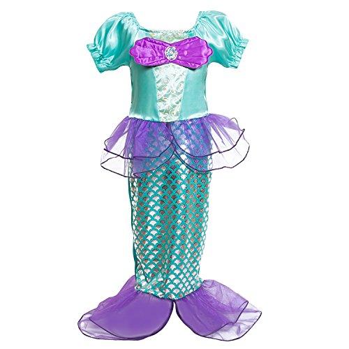 Das beste kleine Mädchen mit Rüschenärmeln Mermaid Princess Fantasie Kostüm Meerjungfrau Kleid (Die Kleine Meerjungfrau Kostüm Kleid)
