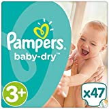Pampers - Baby Dry - Couches Taille 3+ (6-10 kg) - Pack Géant (x47 couches)