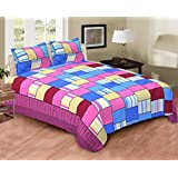 EIN SOF 100% Cotton Double Bedsheet With 2 Pillow Covers Combo Set, Double Bed Cotton Bed Sheet, Geometric Checkered Pattern, 150 TC, Blue Multi