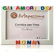 44f2493f3f Cornici per foto in legno con la scritta Gli Amore dei Nonni. Misura  interna per