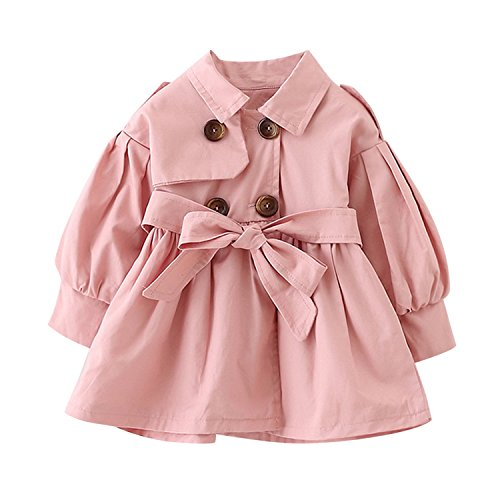 De feuilles Baby Mädchen Jacke Prinzessin Klassische Mantel Trenchcoat Sweatjacke Prinzessin Windbreaker mit Gürtel Kinderjacken Kleidung Outerwear Frühling Herbst
