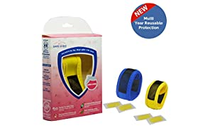Safe-O-Kid Mosquito Repellent Band with 4 Refills and 6 Anti Mosquito Patches (Pack of 2, Yellow/Blue)